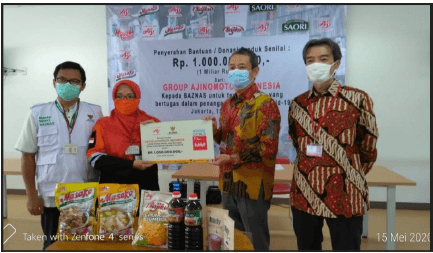 Ajinomoto Group Indonesian affiliate donates food through The National Zakat Board (Baznas) to support frontline healthcare personnel